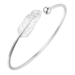 Wholesale Wholesale Small Link Chain Bracelets - 5pcs lot New 925 Sterling Silver Jewelry Feather Leaf Classic Vintage Small Ball Cuff Bracelet Bangle Factory Price Wholesale
