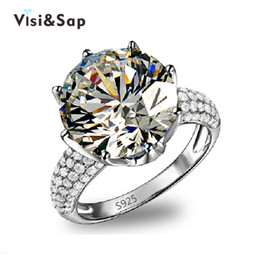 Wholesale Silver Ring Hearts - Visisap White Gold Color ring Crown AAA cubic zircon Wedding Rings For Women Luxury size 5-11 fashion jewelry VSR064