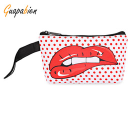 Wholesale Money Makeup - Wholesale- Guapabien 2017 Fashion Big Red Mouth Print Cosmetic Bags Women Travel Makeup Case Pocket Money Mobile Phone Bag for Ladies