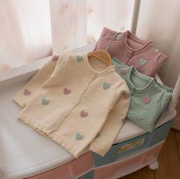 Wholesale Heart Sweater Cardigan - Kids sweater girls candy color love heart long sleeve sweater coat children wave knitting cardigan girl autumn cotton outwear T4261