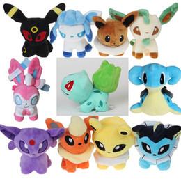 Wholesale Pokemon Sylveon Figure - 14styles Poke figures plush dolls toys 14-18cm kids mini Pikachu Lapras Squirtle Eevee Sylveon Bulbasaur cute Anime plush dolls