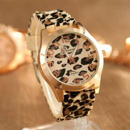 Wholesale Leopard Print Wrist Watches - Fashion Geneva Leopard Watches Women Sport Mens Brand Silicone Watch Print Jelly Gel Ladies Quartz Wrist Watch Casual Dress Gift Watches