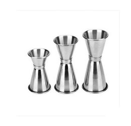 Wholesale Measuring Cup Steel - Jigger Shot Glasses Measuring Cups Cocktail Shaker Stainless Steel Ounce Glass Wineglass Drinking Mug Measure Cup KKA1788