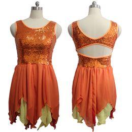 Wholesale Latin Ballroom Tops - Sequin Dress Orange and Yellow Chiffon Skirt Sleeveless Top and Open Back Women Latin Modern Costume