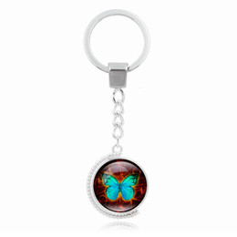 Wholesale Butterfly Rotation - Hot sale Retro Butterfly Double Side Rotation Time Gemstone Keychain Alloy Key Ring KR166 Keychains mix order 20 pieces a lot