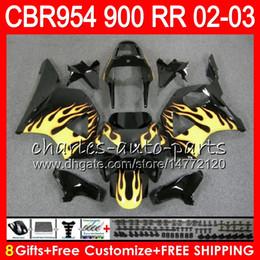 Wholesale Cbr 954 Yellow Fairings - Body For HONDA CBR 954RR CBR900RR CBR954RR 2002 2003 66NO38 CBR 900RR Yellow flames CBR954 RR CBR900 RR CBR 954 RR 02 03 Fairing kit 8Gifts