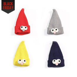 Wholesale Head Caps Knit - Children's Sesame Street Knit Hat Pointy Wizard Hat with Big Eyes and Head Cap