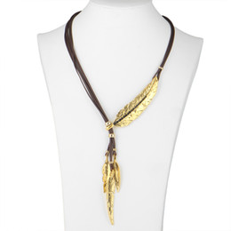 Wholesale Gold Necklace Patterns Women - Fashion Bohemian Style Black Rope Chain Feather Pattern Pendant Necklace For Women Fine Jewelry Collares Statement Necklace