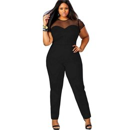 Wholesale wholesale plus size jumpsuits - Wholesale- Plus size Women Sexy Mesh Patchwork Skinny Rompers Jumpsuit Ladies Hollow Out O neck Playsuit Stretch Jumpsuit Overalls YF271