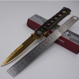 cuchillo de caza para la venta Rebajas Venta caliente Cuchillo de Titanio Golden Swordfish Cuchillo de Bolsillo 3Cr13 Hoja de Acero Plegable Cuchillo de Supervivencia de Caza Que Acampa Cuchillos Tácticos EDC Herramientas