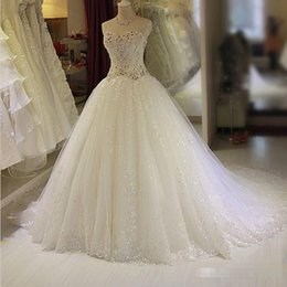 Wholesale Elegant Vintage Wedding Gowns - Elegant 2017 Real Image A Line Wedding Dresses With Sparkly Crystals Sweetheart Chapel Train Plus Size Custom Made Bridal Gowns Cheap