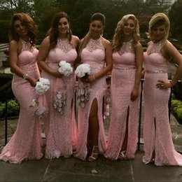Wholesale Halter Wedding Dresses Slit - 2017 New Elegant Pink Mermaid Bridesmaid Dresses Halter Neck Full Lace Sequins Maid of Honor Gowns Side Slit Wedding Party Guest Dresses