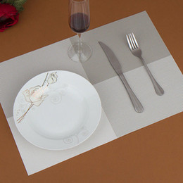Wholesale Vintage Dining Tables - Wholesale- SZS Hot 4pcs Placemats Vintage PVC Insulation Plaid Dining Table Mats Pad Restaurant Bar gray