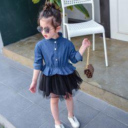 Wholesale Denim Splicing Chiffon Dress - Baby Girls Tutu Dress Denim Splice Long Sleeve Ruffle Collar