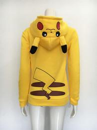 Wholesale Women Yellow Costumes - 2017 Hoodies Sudaderas Mujer New Face Pikachu Totoro Printing Costume Tail Zip Hoodie Sweatshirt Free Shipping