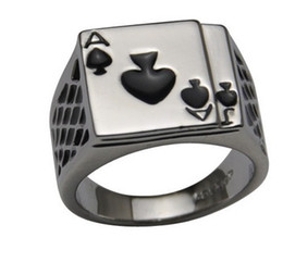 Wholesale American Poker - Men's Jewelry Chunky Black Enamel Spades Cool Poker Ring for Men