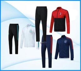 Wholesale Men Football Pants - Full Zipper 2017 2018 Ajax Jacket Tracksuit 17 18 Real Madrid AC Milan dybala Track Soccer Jogging Football Tops Coat Pant Men Training Suit