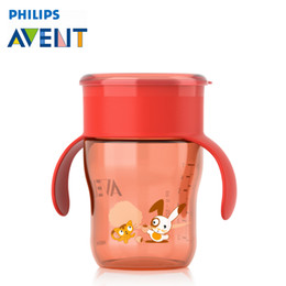 Wholesale Avent Baby Cup - Wholesale- AVENT 260ml Cute Baby PP Cup Kids Children Learn Feeding Drinking Water Handle Mamadeira Copo Infantil Fruit Juice Milk Garrafa