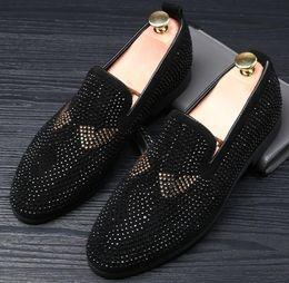 Wholesale Men Groom Shoes - Designer Men Glitter Monster rhinestone pointed Shoes Loafer For Male Homecom Party Dresses wedding shoes moccasins Groom shoes 467