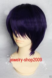Wholesale Dark Purple Wigs - Freeshipping havana african american woman >>New wig Cosplay Shaman King TAO REN Short Dark Purple Mixed Straight Wig+cap
