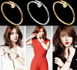 Wholesale Fashion Korea Style Screws Nail Cuff Bangle Copper Crystal Love Bracelets Women Silver Rose Gold Black Trend