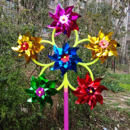 Wholesale Шестиколесные блестки ветряная мельница цветной пластиковый цвет традиционная маленькая мельница Plaza горячие детские игрушки оптом
