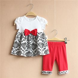 Wholesale Sleeveless For Summer Cartoon - 6 Sets lot Europe 6M-3T Rare editions Summer Cute Girl Cartoon Sleeveless Tops and Pants Children Sets Clohthing For 0-3 Years Kids J1216-7