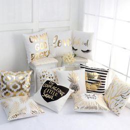 Wholesale Wholesale Luxury Sofas - Luxury Pillow Case Bronzing Cushion Cover Gold Printed Pillow Cover Decorative Pillow Case Sofa Seat Car Pillowcase Wholesale XL-G102