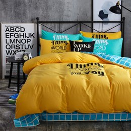 Wholesale Offset Machines - Fashion Yellow Color Offset Printed Twin   Queen   King Size 100% Cotton Kids Bedding Set