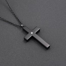 Wholesale Mens Red Cross Necklace - CMJ9848 Black Stainless Steel Slim Cross Cremation Urn Jewelry necklace Mens Keepsake memorial pendants for ashes