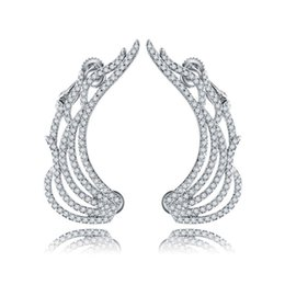 Wholesale Gold Cartilage Earrings - 2017 New Design White Gold-Color Cubic Zirconia Luxury Angel Wings Cartilage Cuff Earrings For Women Sexy Bar Jewelry Wholesale E008