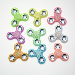 Wholesale Wholesale Tip Up Lights - 2017 Light Up Hand Spinners Fidget Spinner Top Quality Triangle Finger Spinning Top Colorful Decompression Fingers Tip Tops