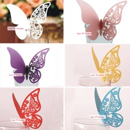Wholesale Butterfly Card Decorations - 50pcs bag Butterfly Place Escort Wine Glass Cup Paper Card Wedding Party Home Table Decoration Birthday Party Supplies