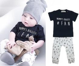 Wholesale Summer Cute Fan - NWT INS 2017 New cute Baby Boys Outfits Summer 2piece Sets Boy Cotton Tops Shirts Vest + Harem Pants PJ'S - Mommy's Biggest # Fan