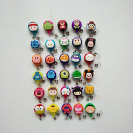 Wholesale Old Cell - 30pcs Cartoon Retractable Lanyard ID Card Badge Holder Reels with Clip Keep ID Key Cell phone Safe