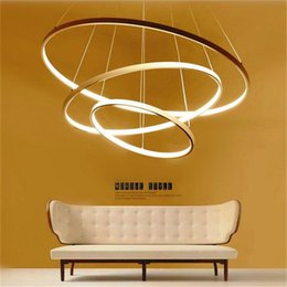 Wholesale Lamp Modern Remote Control - Modern Circular Ring Pendant Lights 3 2 1 Circle Rings Acrylic Aluminum body LED Lighting Ceiling Lamp Fixtures For Living Room Dining Room
