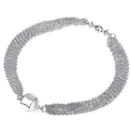 Wholesale European Bracelet Opal - 925 Sterling Silver Charm Bracelet Clip Clasp Bracelets Multi Strand Chain Bangle Fit European Bead For Women DIY Original Jewelry