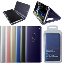 Argentina Caja de teléfono oficial Electrochape Clear Smart Kickstand Espejo Ver Flip Cover Sleep wake Phone Case Protector de pantalla para S8 S8 plus Suministro