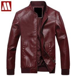 Wholesale White Leather Jacket Mens Motorcycle - Wholesale- 2017 New Fashion Mens stand collar motorcycle PU Leather clothing men's leather jacket male outerwear Jackets Asia S-XXXL C515