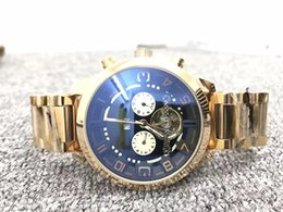 Wholesale Work Style Fashion - New AAA Men Watches Mute Style Mechanical Automatic watch Five-hand Analog Work Dial Tourbillon Flywheel Design Top Brand Wristwatch For men