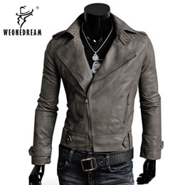 Wholesale Korean Men S Clothing - Wholesale- Free Shipping Hot Sale High Quality 2017 New Fashion Korean Men's Slim Fit 4 Color Male Clothing PU Leather Jacket Outerwear