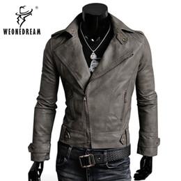 Wholesale Korean Men Jacket Free Shipping - Wholesale- Free Shipping Hot Sale High Quality 2017 New Fashion Korean Men's Slim Fit 4 Color Male Clothing PU Leather Jacket Outerwear