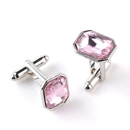 Wholesale Mens Cufflinks Gold - Fashion Pink Crystal alloy French Cufflinks for mens women tie clip Cuff Link for Shirt buttons cufflinks high quality wholesale