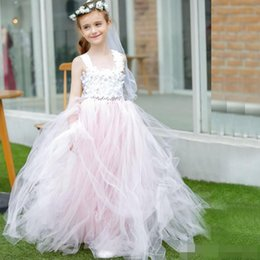 Wholesale Dress First Comunion - 2017 New Vestidos De Comunion Elegant A-Line Flower Girl Dress Pink Tulle Spaghetti Stain For Weddings First Communion Dress