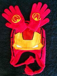Wholesale Christmas Glove Styles - New Arrivals Ironman Style boy Hat & Gloves Set Christmas Winter Children's Mittens
