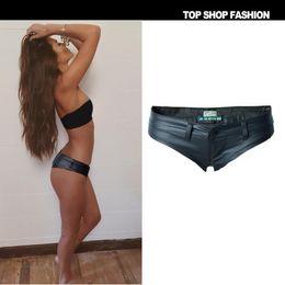 Wholesale Hot Girls Sexy American - Night wind sexy girl low waist elastic jean PU imitation leather button zipper hot pants