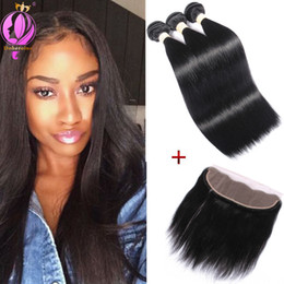 """Wholesale Healthy Natural Hair - Straight Weave 3 Bundles with Handmade Full Lace Frontal Closure 13x4"""" Free Part Healthy Brazilian Virgin Human Hair Straight Hair"""