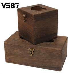 Wholesale Vintage Chinese Box - Wholesale- Tissue Box High-grade Vintage Burned Wooden Drawer Box Bar Restaurant Chinese Beautiful Napkin Holder Case Rectangle Square