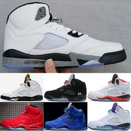 Wholesale Grape Boxes - (with box) air retro 5 men Basketball Shoes blue Red Suede white Cement Olympic OG metallic Gold Black Metallic Fire Red Grape sneakers