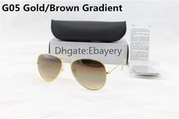 357847d08c8 Free shipping Brand Classic Model Men Women Metal Gold Frame Brown Gradient  Glass Lens Sunglasses Pilot Sun Glasses With Leather Box